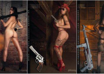 Убойный календарь с девушками и оружием (14 фото)