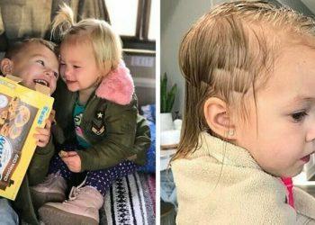Трёхлетний мальчик подстриг младшую сестру, но она не в обиде (11фото)