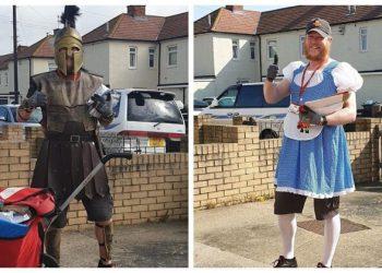 На радость жителям: британский почтальон облачается в смешные костюмы (17фото)