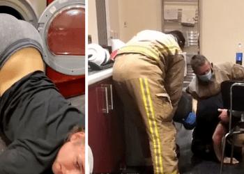 Уморительное спасение британки, которая на спор залезла в сушильную машину (4фото)