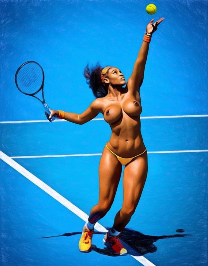 Спортсменка играет в теннис с голыми сиськами