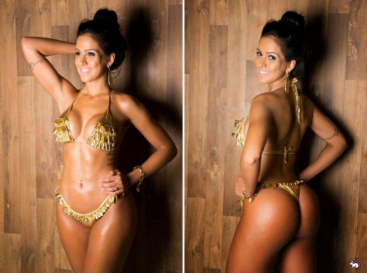 Красавица в золотом бикини с упругой бразильской попой