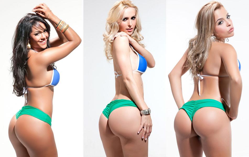 Интересные девушки в одинаковых купальниках, но с разными формами бразильских поп