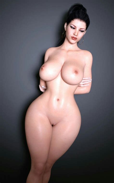 Обнаженная загадочная девушка с большими грудями и широкими бедрами