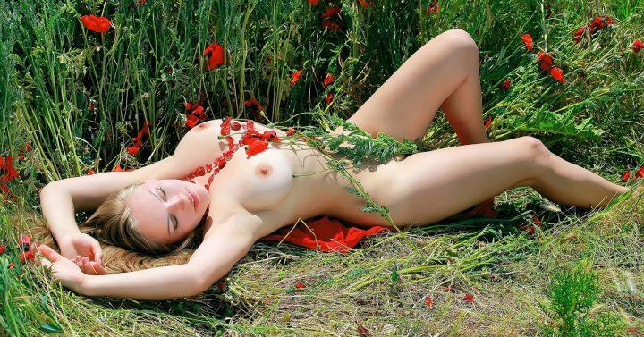 Блондинка без одежды усыпана маковым цветом
