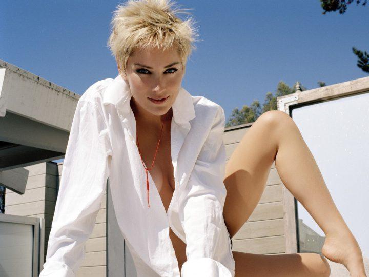 Сексуальная Шарон Стоун с короткой стрижкой в белой рубашке на голое тело.