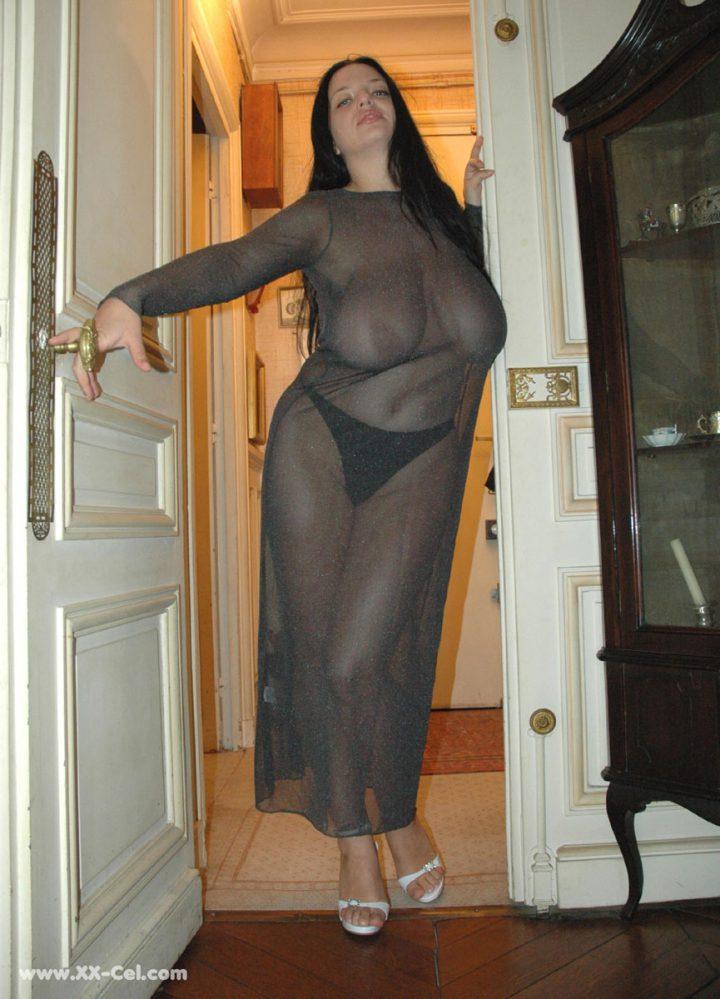 Томная соблазнительница с соблазнительными формами в прозрачном платье открыла дверь