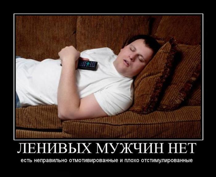 Ленивых мужчин нет- есть неправильно отмотивированные и плохо отстимулированные.