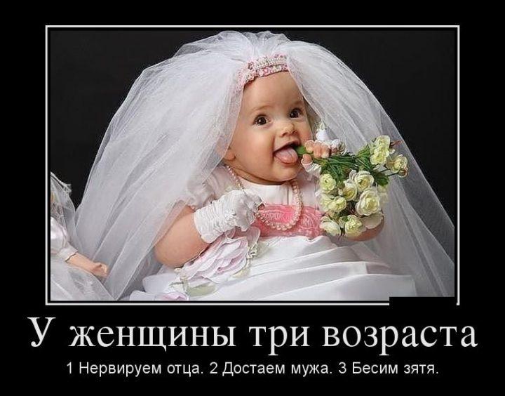 У женщины три возраста-1. нервируем отца. 2. Достаем мужа. 3. Бесим зятя.